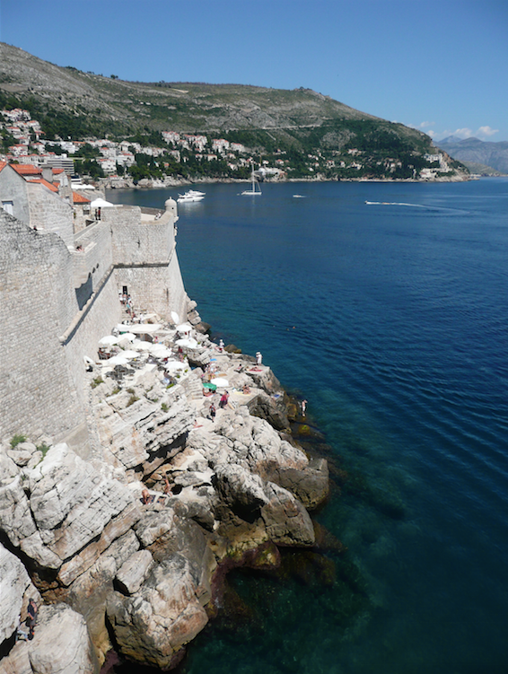 Swimming off the rocks in Dubrovnik.