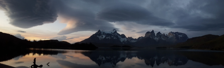 Torres del Paine on a rare still day.